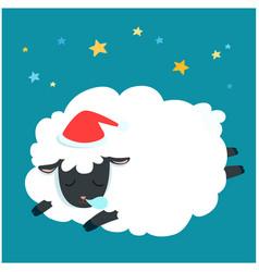 fluffy sheep cartoon sleeping at night sky with vector image