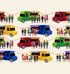 food trucks seamless pattern people queue in vector image