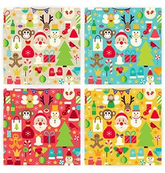Four Flat Happy New Year Patterns Set vector image