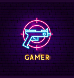 Gamer neon label vector