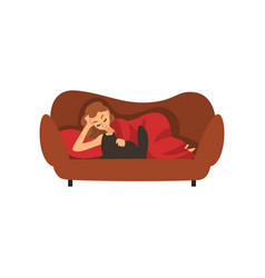 Girl lying on couch under blanket and stroking cat vector