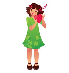 Girl with heart vector