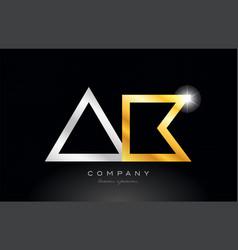 Gold silver alphabet letter ak a k combination vector