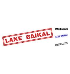 grunge lake baikal textured rectangle watermarks vector image