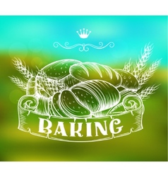 hand drawn bakery label vector image