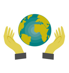 hand holding a globe on white background vector image