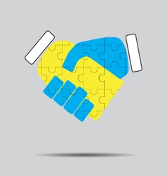 Handshake cooperation puzzle pattern vector