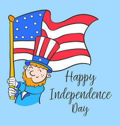 happy independence day cartoon style vector image