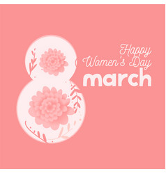 happy womens day in pastel colors lettering march vector image