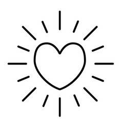 heart sun thin line icon shining heart vector image
