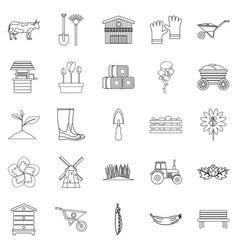 Homestead icons set outline style vector
