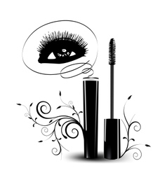 Ink for eyelashes with ornament vector image