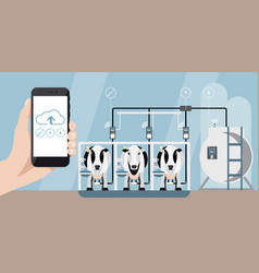 internet of things on dairy farm vector image