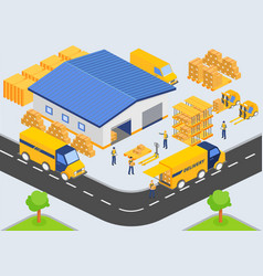 isometric warehouse company loading and unloading vector image