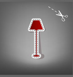 lamp simple sign red icon with vector image