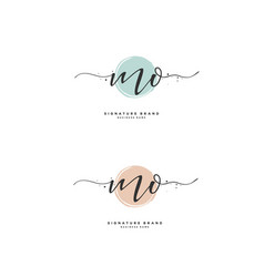 M o mo initial letter handwriting and signature vector