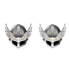 medieval metal winged helmet with patterns vector image