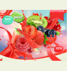 mix fruits and berries splash of juice strawberry vector image