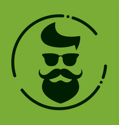 monochrome hipster with beard glasses haircut vector image