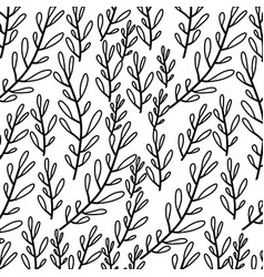 Monochrome pattern of branches with ovoid leaf vector
