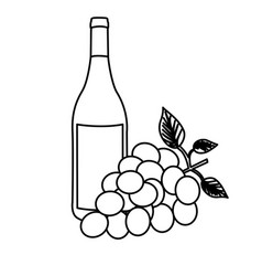 monochrome silhouette with bottle of wine and vector image