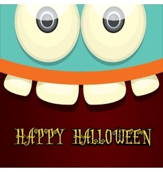 Monster face halloween greeting card vector