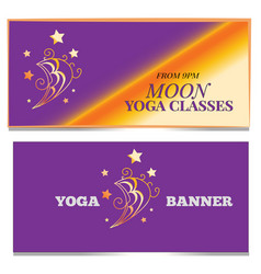 moon banner set yoga classes concept print vector image