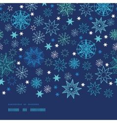 Night snowflakes horizontal border frame seamless vector image