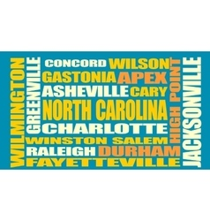 North Carolina state cities list vector