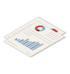 office graph paper icon set isometric style vector image