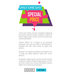 only today special price single web page s vector image