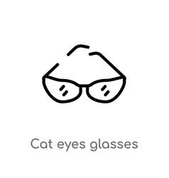 outline cat eyes glasses icon isolated black vector image