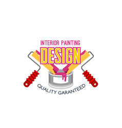 painting service icon design with paint and roller vector image