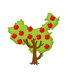 patriotic apple tree china map apples chinese vector image