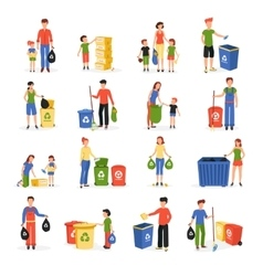 People Recycling Waste Flat Icons Collection vector