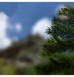 Realistic green spruce Beautiful natural vector