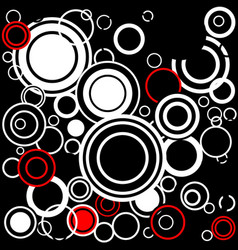 Retro red and white circles vector