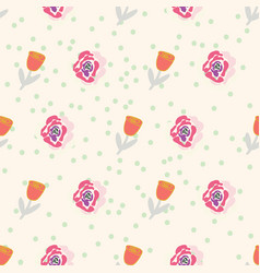 Retro stylized tulips and roses on creme dotted vector