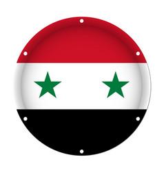Round metallic flag of syria with screw holes vector