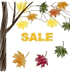 Sale sign on bright autumn background vector image