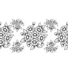 seamless black flowers brush vector image