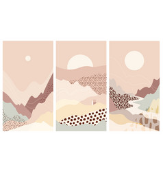 set abstract mountain landscapes a background warm vector image