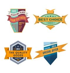 set logo retro ribbon labels and vintage vector image