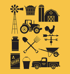 Set of 11 detailed farm icon vector