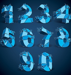 Set of 3d low poly blue numbers with white vector