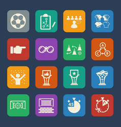 soccer icons set flat design for website and vector image