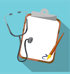 stethoscope and board on blue background vector image