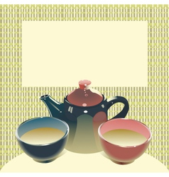 teapot with two teabowls on mats background vector image