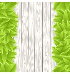 template with wood and leaves vector image