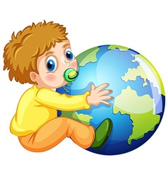 Todler hugging the earth vector image